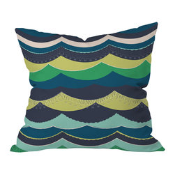 DENY Designs - Vy La Unwavering Love Blue Green Outdoor Throw Pillow, 16x16x4 - Do you hear that noise? It's your outdoor area begging for a facelift and what better way to turn up the chic than with our outdoor throw pillow collection? Made from water and mildew proof woven polyester, our indoor/outdoor throw pillow is the perfect way to add some vibrance and character to your boring outdoor furniture while giving the rain a run for It's money.