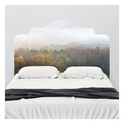 J. Paul Moore - Paul Moore's Misty Mornings Headboard Wall Decal - While the autumn mist settles over these trees on your adhesive headboard wall decal, you can nestle in your comforter with a mug of tea and a great book to warm your heart.