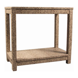 Society Social - The Draper Accent Table, Python/Stone - This table makes you do a bit of a double take. First glance shows a simple, neutral design, but on closer inspection the head-to-toe faux python treatment knocks your socks off. Bring it into any room that could use some jazzing up.