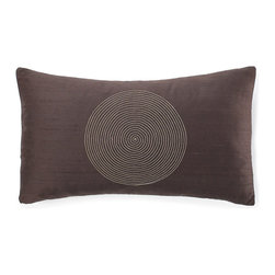 JITI - Small Spiral Chocolate Silk Pillow - This rich, chocolate brown pillow hits the bull's-eye for beautiful style. Crafted from luxurious silk, stuffed with a soft feather and down insert and featuring a striking spiral design, this eye-catching accent is just the thing to dress up your contemporary couch.
