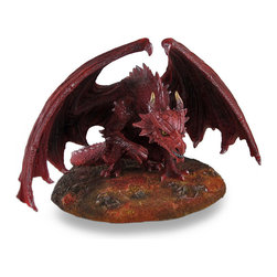 "Zeckos - Anne Stokes ""Dragon's Lair"" Sculptural Red Dragon Statue - Do you dare enter the dragon's lair? If you're looking for a bold adventure, the raw power and pure muscle standing between this fiery beast and the treasures of the lair, proves only the bravest survive The imagination of Anne Stokes comes to life in this amazingly sculpted 6.25 inch (16 cm) high, 10.5 inch (27 cm) wide, 9 inch (23 cm) deep cast resin statue. Expertly hand-painted in fantastical hues with skeletal figures that have met their fate at the dragon's feet, It's sure to command attention from any shelf in your home or office, and makes a great gift for any dragon lover or collector of fantasy art."