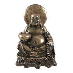 Happy Buddha Bronze Finish Statuette Figure - This beautiful cold cast resin statue of Happy Buddha has a beautiful bronze finish, and has hand-painted accents to show off the detail of this stunning piece. The statue measures 5 inches tall, 3 3/4 inches wide and 3 inches deep. It looks great in living rooms, offices, bedrooms, even in kitchens.