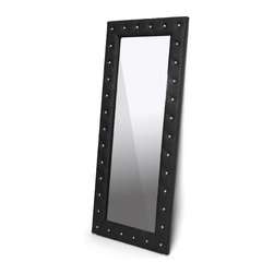 Wholesale Interiors - Stella Crystal Floor Mirror in Black - Rubberwood frame with foam padding. Modern style. Faux crystal button tufting. Wipe clean with a damp cloth. 1.5 in. thickness. Warranty: 30 days limited. Made from faux leather. Made in Malaysia. No assembly required. Internal: 20.5 in. W x 60 in. H. Overall: 31.25 in. W x 71.25 in. H (62 lbs.)Stella is a glamorous designer floor mirror that takes it up a notch.
