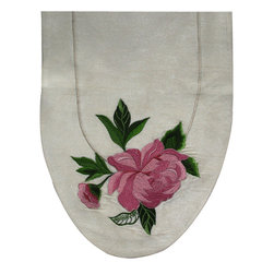 Peony Table Art Runner - The delicate peonies that are elegantly embroidered on this silk runner will mean your table is always in bloom. Bring classic, unfussy femininity to your table setting with this handcrafted runner.
