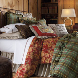 "French Laundry Home - French Laundry Home Queen Plaid Duvet Cover, 96"" x 98"" - Plaid duvet cover has mini ruffle trim. Made in the USA of linen/cotton. 96"" x 98"". Dry clean."