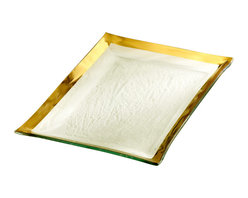 """Annieglass - Roman Antique Gold Rimmed Martini Tray - Annieglass handmade Roman Antique martini tray in gold trim. Durable, dishwasher safe, chip resistant and safe for dining. Makes a great wedding gift, birthday gift, baby shower gift, or any other special occassion! Handmade glass 14 1/2 x 10"""" martini tray produced in the U.S.A. Durable, chip-resistant and dishwasher safe. Banded with 24-karat gold. Each Annieglass piece is handmade from architectural quality glass with Annie Morhauser's trademark slumping process  which is a uniquely developed glass bending technique. Each piece is highly durable, dishwasher safe, chip resistant, and safe for dining."""