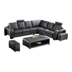 VIG Furniture - 3330 Black Top Grain Italian Leather Sectional Sofa Set - The 3330 sectional sofa will look great once placed within your living room with it's modern look. This sectional sofa comes upholstered in a beautiful black top grain Italian leather in the front where your body touches. Skillfully chosen match material is used on the back and sides where contact is minimal. High density foam is placed within the sofa set for added comfort. This sectional comes with matching moveable foot stools and a coffee table.