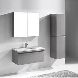 """Madeli - Madeli Venasca 36"""" Bathroom Vanity for Quartzstone Top - Ash Grey - Madeli brings together a team with 25 years of combined experience, the newest production technologies, and reliable availability of it's products. Featuring sleek sophisticated lines Madeli vanities are also created with contemporary finishes and materials. Some vanities also feature Blum soft-close hardware. Madeli also includes a Limited 1 Year Warranty on Glass Vessels, Basin, and Counter Tops. Sleek, modern and sophisticated, the Venasca Collection features a wall hung cabinet in a rich Ash Grey finish accented with decorative, polished chrome handles. A slight pull on the full length handles reveals spacious, full-extension, storage drawers with Blum soft-closing hardware. Add to this a luxurious polyurethane-protected finish and you end up with a stylish and functional piece worthy of being the centerpiece of your dream bathroom.Sleek, modern and sophisticated, the Venasca Collection features a wall hung cabinet in a rich Ash Grey finish accented with decorative, polished chrome handles. A slight pull on the full length handles reveals spacious, full-extension, storage drawers with Blum soft-closing hardware. Add to this a luxurious polyurethane-protected finish and you end up with a stylish and functional piece worthy of being the centerpiece of your dream bathroom.Features Base vanity with Blum Soft Close hinge pull-out drawer, wall hung Ash Grey finish Polished Chrome finish handle 1-1/4""""H Quartzstone Countertops come in White or Soft Grey finish Quartzstone Countertops come with single faucet or 8"""" widespread faucet holesCeramic undermount sink with overflow Faucet and drain are not includedNo backsplash Matching mirror and medicine cabinet available Limited 1 Year Warranty on Glass Vessels, Basin, and Counter Tops How to handle your counter Spec Sheet Installation Instructions"""