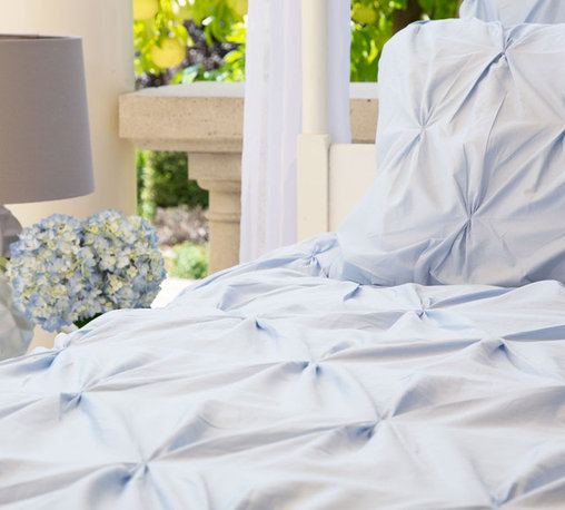 Crane & Canopy - Valencia Light Blue Duvet - Queen/Full - Combining soft tones with modern textures, The Valencia duvet gives a look that is full of volume and elegance. The Valencia light blue pintuck duvet cover in a soft blue will subtly bring your room to life.