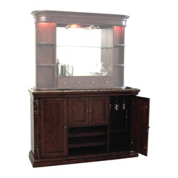 Howard Miller - Niagara Console - The impressive Niagara wine and spirits console provides plenty of specialized places to store bottles, stemware, and other enticing accoutrements.  Its fixed bottle opener makes serving quite easy, while the Italian marble laminated top makes it highly attractive. * This console is finished in distressed Rustic Cherry  on select hardwoods and veneers,and complements the 693-001 Niagara barThe rare, Italian marble laminated top provides an  elegant surface for serving drinks and is removable  for easy handlingA special feature of this console is a fixed bottle opener, removable catch basket,and towel bar attached to the inside of the cabinet's center doorsWooden hanging stemware racksLocking cabinet doors.Keeps your wine and  spirits secureTwo removable wine rack rows hold up to 12 bottles, with additional room below for serving tray storageAdjustable wood shelf with Pad-LockTM metal shelf clipsAdjustable levelers under all corners64.75 in. W x 18.125 in. D x 42 in. H x