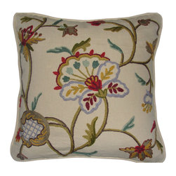 Crewel Fabric World - Crewel Pillow Miranda Light Multicolor on Cream Cotton 20x20 Inches - Features the exotic feel of a palampore with the handcrafted charm of early-American crewelwork.