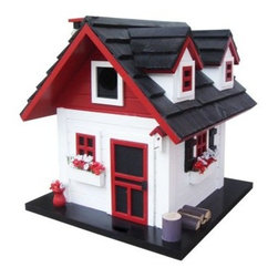 Home Bazaar Cherry Hill Birdhouse - The Home Bazaar Cherry Hill Birdhouse is an adorable red, white, and black model from the Cottage Charmer Series. This cozy cottage features a genuine black, pine shingled roof, twin front dormers, a stone chimney with chimney cap, three window flower boxes with red and white flowers, and numerous other accents to give this birdhouse loads of personality. It also comes with a mounting plate for easy installation on a wooden 4x4 and a steel cable for hanging.About Home BazaarCombining their love of birds and nature with their technical and design abilities, the people of Home Bazaar set out to create the world's most spectacular line of birdhouses and birdfeeders in 1999. They've even created a line of architectural birdhouses, feeders, pedestals, and garden accessories. These items are created using only the finest materials and with painstaking attention to detail. Each product is manufactured for functional use and to be enjoyed for years. Distinctive bird houses and feeders can be matched with accommodating pedestals and these pieces can be placed in the backyard or the garden. Cottage designs and pieces with Victorian scrollwork often end up on covered porches or inside the home as decorative accents.