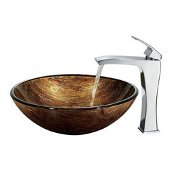 Vigo Industries - Amber Sunset Vessel Sink w 11.5 in. Faucet - Includes all mounting hardware, hot or cold waterlines and standard US plumbing 0.38 in. connections. Handmade with unique and slight color variations. Non-porous surface prevents discoloration and fading. Stain-resistant, easy-to-clean surface. Polished glass interior with textured exterior. Above-counter and easy single-hole installation. 1.75 in. standard drain opening. High-quality ceramic disc cartridge ensures maintenance-free use. Mineral-resistant nozzle is easy-to-clean. Finishes resist corrosion and tarnishing, exceeding industry durability standards. Blackstonian vessel faucet is a simple with single lever fixture. Water pressure tested for industry standard. 2.2 GPM flow rate. Required standard 1.38 in. Dia. opening for faucet. Limited lifetime warranty. Made from hand-painted tempered glass and solid brass. Multicolored sink and chrome colored faucet. Glass thickness: 0.5 in.. Faucet height: 11.5 in. H. Sink: 16.5 in. Dia. x 6 in. H. Faucet Assembly Instructions. Sink Assembly InstructionsThe amber sunset vessel sink re-creates the ambiance of sunset and radiates throughout your home. Coupled with a faucet, this sink brings a distinguished elegance into your bathroom.