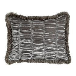 Dian Austin Couture Home - Standard Shirred Velvet Sham w/ Brush Fringe - FROSTED SILVER - Dian Austin Couture HomeStandard Shirred Velvet Sham w/ Brush FringeDesigner About Dian Austin Couture Home:Taking inspiration from fashion's most famous houses of haute couture the Dian Austin Couture Home collection features luxurious bed linens and window treatments with a high level of attention to detail. Acclaimed home designer Dian Austin introduced the collection in 2006 and seeks out extraordinary textiles from around the world crafting each piece with local California artisans.