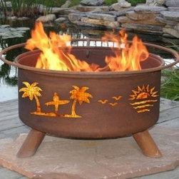Pacific Coast Outdoor Fire Pit - You can enjoy the beach any time of the year with the beach-themed detailing along the Pacific Coast Outdoor Fire Pit. -Mantels Direct
