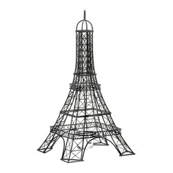 "Koehler Home Decor - Onament Single Eiffel Tower Replica Candle Holder - This beautiful Eiffel Tower Candle Holder gives your room Parisian style with its intricate metalwork inspired by one of the world's most recognized structures. This Eiffel Tower holds a glass candle cup in the base that's ready for the candle of your choice. Tres magnifique. Item weight: 1.2 lbs. 8""x 8""x 15.5"" high. Metal and glass. Candle not included."