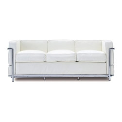 "IFN Modern - Le Corbusier LC2 Style Sofa - Italian White - Our LC2 line reproduction was inspired by Le Corbusier��_s original design back in the 1920��_s. Charles-Edouard Jeanneret-Gris better known as Le Corbusier, introduced the LC2 line for two of his project ��_The Maison la Roche in Paris��_ and pavilion for Barbara and Henry Church. Our LC2 furniture line is true to the original design; we offer superiors quality leathers and craftsmanship. A lot of reproduction companies out there use fake leather or vinyl on their products and lower grade steel which will bend and chip over time. We offer multiple colors on all of our products, and our stainless steel is hand polished to a mirror finish.                                                                                                                                                                                                                      Overall Dimensions: 26.4"" H x 70.8""L x 31.5"" D"