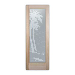 """Bathroom Doors - Interior Glass Doors Frosted - Desert Palms - CUSTOMIZE YOUR INTERIOR GLASS DOOR!  Interior glass doors or glass door inserts.  .Block the view, but brighten the look with a beautiful interior glass door featuring a custom frosted privacy glass design by Sans Soucie! Suitable for bathroom or bedroom doors, there are no clear areas on this glass.  All surface areas are etched/frosted to be 100% opaque.  Note that anything pressed up against the glass is visible, and shapes and shadows can be seen within approx. 5-12"""" of the glass.  Anything 5-12"""" from the glass surface will become obscured.  Beyond that distance, only lights and shadows will be discernible. Doors ship for just $99 to most states, $159 to some East coast regions, custom packed and fully insured with a 1-4 day transit time.  Available any size, as interior door glass insert only or pre-installed in an interior door frame, with 8 wood types available.  ETA will vary 3-8 weeks depending on glass & door type........  Select from dozens of sandblast etched obscure glass designs!  Sans Soucie creates their interior glass door designs thru sandblasting the glass in different ways which create not only different levels of privacy, but different levels in price.  Bathroom doors, laundry room doors and glass pantry doors with frosted glass designs by Sans Soucie become the conversation piece of any room.   Choose from the highest quality and largest selection of frosted decorative glass interior doors available anywhere!   The """"same design, done different"""" - with no limit to design, there's something for every decor, regardless of style.  Inside our fun, easy to use online Glass and Door Designer at sanssoucie.com, you'll get instant pricing on everything as YOU customize your door and the glass, just the way YOU want it, to compliment and coordinate with your decor.   When you're all finished designing, you can place your order right there online!  Glass and doors ship worldwide, custom packed"""