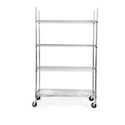 Trinity - Trinity EcoStorage 4-tier Wheeled Wire Shelving Unit - An excellent way to store or transport materials, this durable wire shelving unit comes on wheels for easy moving.It is constructed of steel for added durability, and the shelves are adjustable, so you can get them at the height you need.