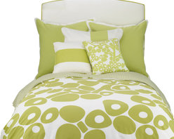 Oilo - Full/Queen Modern Berries Duvet, Spring Green - The pop-y design of this duvet is great for a modern home. It's playful and crisp, especially with the striped side folded over for contrast. This youthful shot of energy is just what your bedroom needs. Pillows not included.