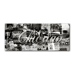 """READY2HANGART.COM - Ready2hangart Alexis Bueno Vintage B&W Chicago Canvas Wall Art - Artist Alexis Bueno, takes you through the history of select cities and countries with his series Vintage Black & White. The abstract rendition in canvas art is offered as part of a limited """"Home Decor"""" line."""
