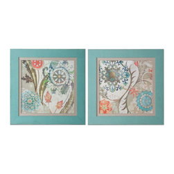 Uttermost - Uttermost Royal Tapestry Framed Art, Set of 2 41397 - Prints are accented by oatmeal linen liners and surrounded by frames that have been covered in a loosely woven, turquoise linen fabric.