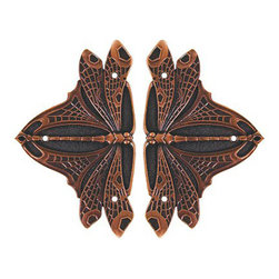 """Notting Hill DH - Dragonfly Hinge Plates in Antique Copper (NHH907-AC) - Dragonfly Hinge Plates in Antique Copper 1-1/2"""" w x 2-1/2"""" h"""