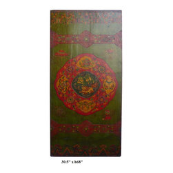 Tibetan Canvas Fu Dog Treasure Wood Door Panel - This is an old door painted with artistic Tibetan graphic for modern decoration. The theme is grass green base color and graphic of Fu Dog and treasure items is at the center.