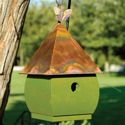 Hadley Park Hanging Bird House - White / Verde Copper Roof - Give your garden an charming appearance with this Hadley Park Bird House. The butterfly accent on the hanging ring and the braided detailing around the edge of the burnished copper roof add interest to the piece.