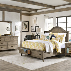 Legacy Classic Furniture - Shelter Storage Bedroom Set - Charm, character, and rustic appeal; all of these traits combine beautifully to create the stunningly distressed Shelter Storage Bedroom Set from Legacy Classic Furniture. The Shelter Bed is a work of art in and of itself. Its elegant headboard casts a sophisticated shadow over the other pieces with its ethereal lines and sizeable storage drawers. A 9 drawer dresser, mirror, drawer chest, and 2 nightstands accompany this incredible bed, providing you with a variety of storage and timeless style.