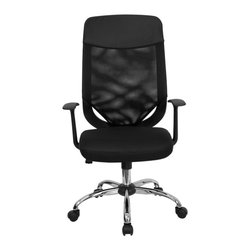 Flash Furniture - High Back Mesh Office Chair with Mesh Fabric Seat - This value priced mesh office task chair will accommodate your essential needs for your home or office. Chair features a breathable mesh back with a comfortably padded mesh fabric seat. Chair is height adjustable to conform to several desk sizes.