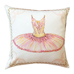 """Mari Robeson Home - Tu Tu Ballet Pillow, With Pillow Insert - Tu Tu 16"""" x 16"""" Pillow with hidden zipper enclosure. A sweet accent pillow for any room in your home.  Back is solid pink satin. Made right here in Sunny California! This item is made on demand and can take up to 4 weeks for delivery."""