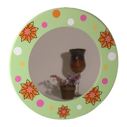 Danya B - Round Wall Mount Mint Green and Pink Floral Print Border Mirror - This gorgeous Round Wall Mount Mint Green and Pink Floral Print Border Mirror has the finest details and highest quality you will find anywhere! Round Wall Mount Mint Green and Pink Floral Print Border Mirror is truly remarkable.