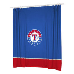 Sports Coverage - MLB Texas Rangers Baseball Bathroom Accent Shower Curtain - Features: