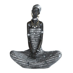 GSC - 9.25 Inch African Lady Sitting in Silver Dress Figurine - This gorgeous 9.25 Inch African Lady Sitting in Silver Dress Figurine has the finest details and highest quality you will find anywhere! 9.25 Inch African Lady Sitting in Silver Dress Figurine is truly remarkable.