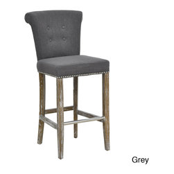 Kosas Collections - Rafa Barstool - Add a comfy touch to your kitchen counter or home bar area with this tufted barstool. It features an armless design with button-tufting on its back and nail-head trim around its seat for added beauty. It has a sturdy birch frame for durability.
