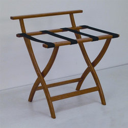 "Wooden Mallet - Luggage Rack w Standard Black Webbing in Medi - Our unique ""Wall Saver"" feature prevents costly wall damage. Has multiple uses when it doubles as a breakfast tray holder or blanket stand. Folds flat and is easily stored in a closet or against a wall when not in use. Four 2 in. woven straps support heavy suitcases. Graceful, curved legs add a designer flair. Rated to hold suitcases up to 100 lbs.. Built using solid oak construction and state-of-the-art finish for heavy use and lasting beauty.  Made in the USA. No assembly required. All Wooden Mallet products are warranted for 1 year against defects in materials and workmanship. Overall: 29.5 in. L x 23.75 in. W x 18 in. H (7 lbs.). Open: 29.5 in. L x 23.75 in. W x 18 in. H. Closed: 29.5 in. L x 23.75 in. W x 4.5 in. HGive your guest room the feeling of a four star hotel with this beautiful luggage rack. Built using solid oak and sturdy webbing, even the heaviest suitcases are easily supported by the four 2 in. wide woven straps. Our unique ""Wall Saver"" feature prevents costly wall damage. This luggage rack has multiple uses when it doubles as a breakfast tray holder or blanket stand. These luggage racks fold and unfold easily. Take it out for guests, and then fold it up for easy storage. It is also a great in the master bedroom for packing suitcases for business trips or vacations."