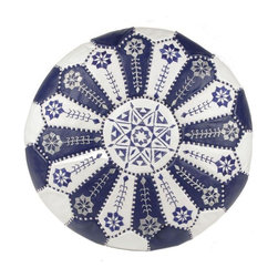 """Pre-owned Embroidered Leather Pouf in Royal Blue/White - Authentic Moroccan hand-made leather hassock commonly known as Poof is made out of genuine soft leather and has an exquisite detailing on the top. The pouf is so practical, it can be used in many ways: as footstool, a low seat around the coffee table, in your children room, or even doubling up as a quick side table. This pouf is pre-stuffed with recycle thread and fabric. This provides comfort and durability for the poufs. Zippered bottom opening for easy stuffing.    Measurement: 21.5"""" D x 12"""" H    This leather is a natural material - minor flaws and imperfections are characteristic of these materials and methods, and only add to the beauty and character of our collection."""
