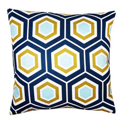 Square Feathers - Atlantic Hex Throw Pillow - The preppy Atlantic Hex throw pillow lends a dose of causal sophistication. The decorative accent's geometric honeycomb pattern dazzles with a rich, contemporary colorway. Available in several sizes; Faux linen; Navy blue, aqua, olive green and white; Navy blue reverse; Zipper closure; Includes 90/10 feather down insert; Dry clean only; Made in the USA