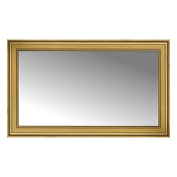 "Posters 2 Prints, LLC - 54"" x 33"" Arqadia Gold Traditional Custom Framed Mirror - 54"" x 33"" Custom Framed Mirror made by Posters 2 Prints. Standard glass with unrivaled selection of crafted mirror frames.  Protected with category II safety backing to keep glass fragments together should the mirror be accidentally broken.  Safe arrival guaranteed.  Made in the United States of America"