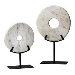Cyan Design - Cyan Design Small White Disk on Stand Sculpture in White - Small White Disk on Stand Sculpture in White