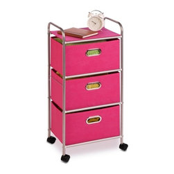 3 Drawer Rolling Cart Pink - Honey-Can-Do CRT-02348 3-Drawer Rolling Fabric Cart, Pink.  Getting organized has never looked better with this impressive fabric cart.  The smooth rolling storage unit has three spacious drawers to hold clothes, tools, or anything else you need tucked away.  A soft top surface provides even more storage space, and can double as a night-stand.  Two locking wheels keep the cart securely in place as needed, and unlock for easy maneuvering around the room.