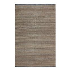 "ALRUG - Handmade Beige/Brown Oriental Kilim  6' 6"" x 10' 1"" (ft) - This Afghan Kilim design rug is hand-knotted with Wool on Wool."