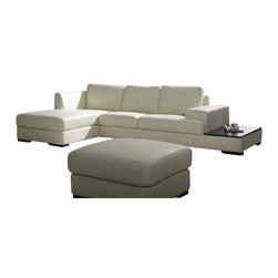VIG Furniture - 3893 White Top Grain Leather Sectional Sofa With Matching Ottoman - The 3893 sectional sofa will be the perfect addition for any living room looking to add a modern touch. This sectional comes upholstered in a beautiful white top grain leather in the front where your body touches. Skillfully chosen match material is used on the back and sides where contact is minimal. High density foam is placed within the cushions for added comfort. The sectional features a built-in side table along the side of the sofa that is perfect for snacks and drinks. A matching ottoman comes included with the sectional.