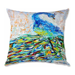 DiaNoche Designs - Pillow Woven Poplin - Karen Tarlton Luminous Peacock II - Toss this decorative pillow on any bed, sofa or chair, and add personality to your chic and stylish decor. Lay your head against your new art and relax! Made of woven Poly-Poplin.  Includes a cushy supportive pillow insert, zipped inside. Dye Sublimation printing adheres the ink to the material for long life and durability. Double Sided Print, Machine Washable, Product may vary slightly from image.