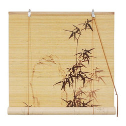 Oriental Furniture - Black Bamboo Design Blinds (24 in. x 72 in.) - These stunning blinds feature a traditional black bamboo design reminiscent of calligraphy. Constructed from all-natural bamboo matchsticks and easy to set up and install, it makes an elegant accent for any window.