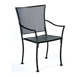 Woodard - Stackable Bistro Dining Arm Chair - Amelie-Set of 2 - Set of 2. All products are made to order. Orders cannot be cancelled after 5 calendar days. If order is cancelled after 5 calendar days, a 50% restocking fee will be applied. Wrought Iron frame. Seat Height: 17.3 in. H. 23.3 in. D x 26.3 in. W x 33.5 in. H