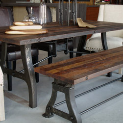 Industrial reclaimed wood dining table -