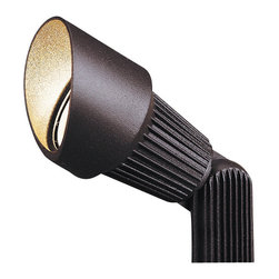 """Kichler 1-Light Landscape Fixture - Textured Architectural Bronze - One light landscape fixture. Perfect for back lighting, spot lighting and other accent lighting in an outdoor setting, this lighting outdoor spot light features a textured architectural bronze finish and heat resistant flat glass lens. Wiring is 40"""" of usable #18-2, spt-1-w leads. cable connector supplied with fixture. 12v porcelain universal bi-pin socket. 8"""" in-ground mounting stake (included)."""
