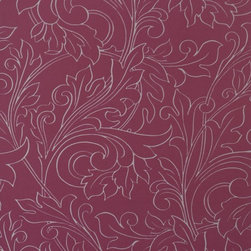 Walls Republic - Glory Ruby Wallpaper R1450, Sample - Glory is floral ornamental wallpaper with fine metallic line work to define pattern. In a range of tone-on-tone colour schemes Glory will bring monochromatic simplicity to your interiors. Use it in your dining room or bedroom for an airy look.